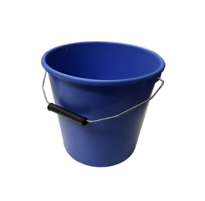 Pack Of 5 Blue Plastic Calf / Calfs 1 Gal Buckets Heavy Duty With Metal Handle