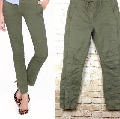 J Crew 27 Skinny Stretch Cargo Pant With Zippers Green