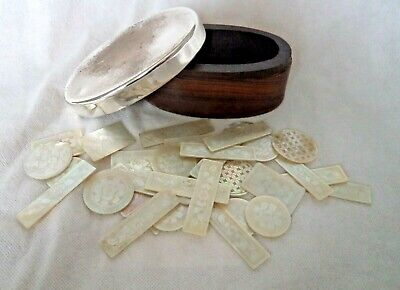 Box Antique Chinese Mother Of Pearl Game Counters – 33 In Total