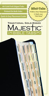 66 Mini Majestic Gold Bible Indexing Index Tabs Book Labels Old & New Testament