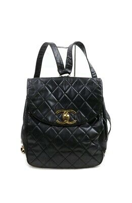 Authentic CHANEL CC Logos Backpack Black Caviar Skin Leather Vintage Italy