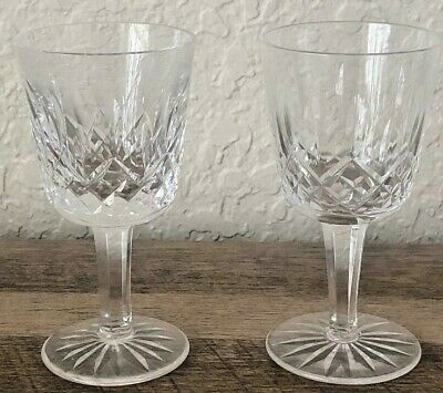 """(2) Waterford Crystal Lismore Pattern Sherry Wine Glasses 4 3/8"""" Tall"""