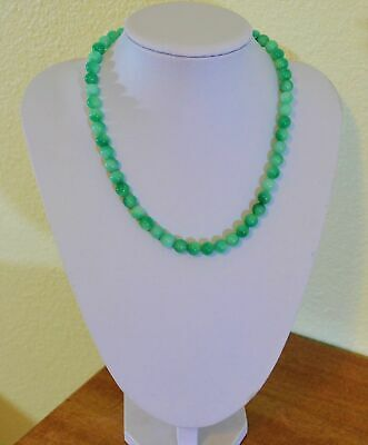 Beautiful Marbled Natural Green Jade 8mm Bead Yellow Gold Necklace Handmade