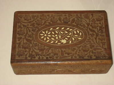 Vintage Wooden Box ~ Hand Carved Flowers  Inlay ~ Jewelry/Trinket Box