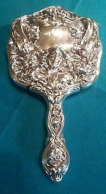 Art Nouveau Antique Sterling Silver Hand Mirror Woman Flowers Vanity Ornate Nice