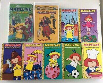 LOT OF 9 MADELINE Cartoon VHS VIDEO TAPES Full Animated Film + Live Action