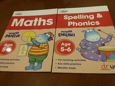 Letts Home Learning workbook Set Maths Spelling and Phonics Age 5-6