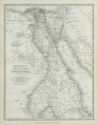 NILE VALLEY Egypt, Arabia Petraea and Lower Nubia Divisions JOHNSTON 1901 map