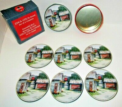Vintage Set of 6 COCA-COLA Brand COASTERS @1999 Slightly Used Free Shipping!!