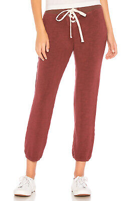 NWT MONROW Dusty Maroon Super Soft Lace Up Sweatpants Size Large