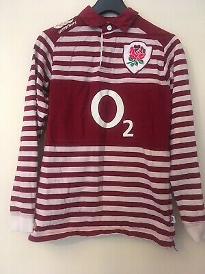 Canterbury England Rugby Top O2 Stripe Rose Age 14