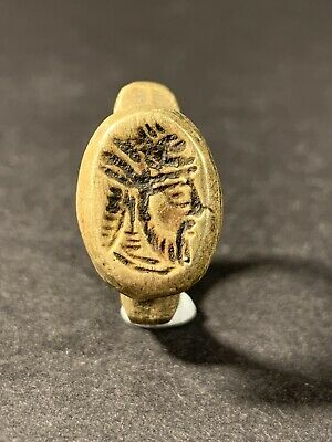 Ancient Greek Kings Of Baktria Bronze Seal Ring Superb - Circa 200Bce