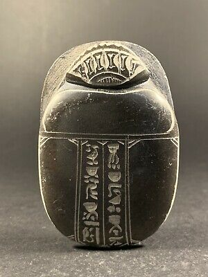 Large Ancient Egyptian Detailed Stone Scarab Hieroglyphics On Base Circa. 400Bc