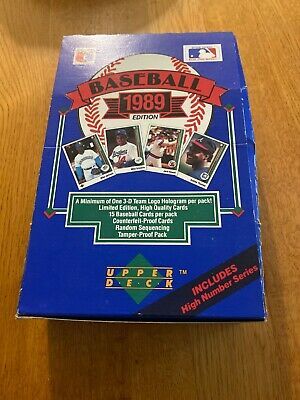 1989 Upper Deck Baseball Factory Sealed Wax Box with High Numbers 36 Packs