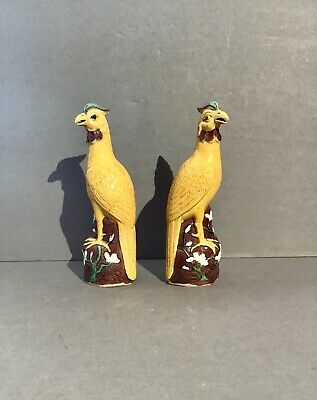 Antique, Pair of mustard colored Chinese, Mud Figure, Rooster Figurines