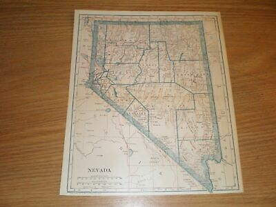 1921 Map Nevada Indian Reservation City County Town RR vtg original antique old