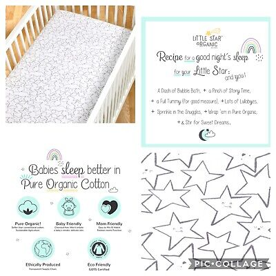 NWT Little Star Organic 100% Pure Organic Cotton Fitted Jersey Crib Sheets, 2 Pk