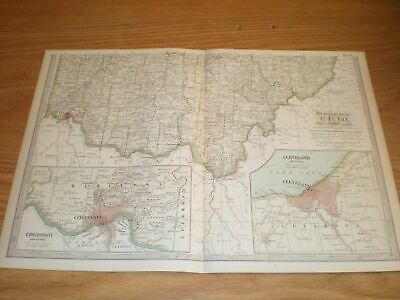 vtg Lot 2 Maps Ohio Northern and Southern Old Original Antique Dated 1897 11X16