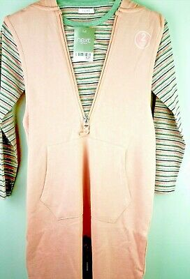 next girls pink all in one jumpsuit with hood and striped top age 5-6 yrs NEW