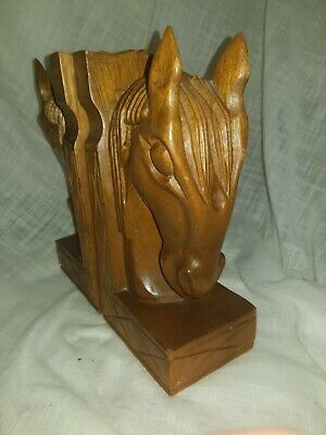 "Vintage Hand carved solid wood  Horse Head/ Bookends 10"" tall"