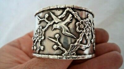 ANTIQUE CHINESE c1900 SOLID / STERLING SILVER NAPKIN RING – BLOSSOM & BIRDS