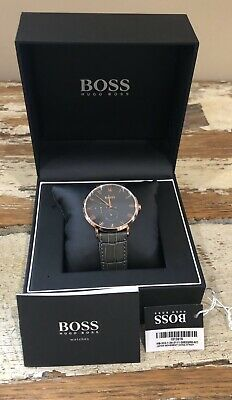 Hugo Boss Men's William Classic Dark Grey Leather Watch 1513619 Used Once
