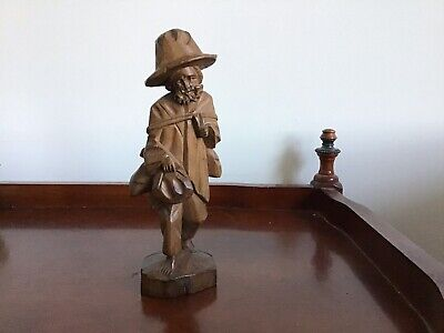 "Vintage 8"" WOOD (TEAK?) HAND CARVED WALKING OLD MAN STATUE FIGURINE"