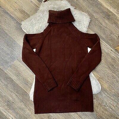 Tobi Sweater Dress Turtle Neck Off Shoulders Brown Small Long Sleeve