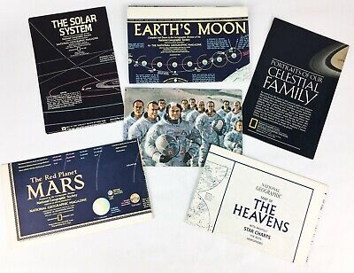 Lot of 6 Vintage Solar System Maps & Pamphlets National Geographic Poster Charts