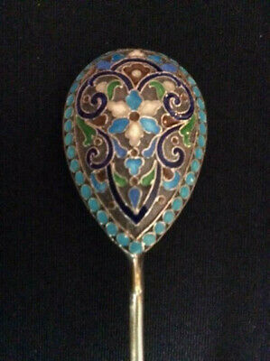 Great Original Russian Imperial Silver 88 Cloisonne Enamel Spoon Antiques Russia