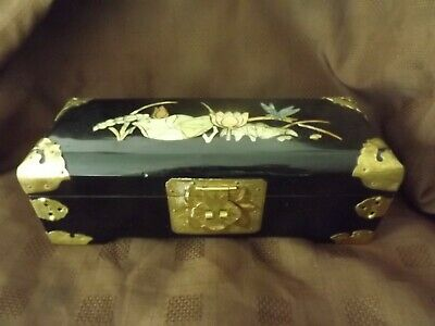 Vintage Chinese Lacquer Ware & Mother Of Pearl Inlay Large Jewellery Box