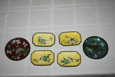 6 - Old Chinese Cloisonne Small Round And Rectangle Enameled Trays Trinket Dish