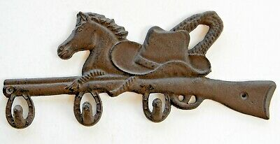 American Vintage Rustic Wall Hook,Cowboy Hat,Rifle,Horse,Horseshoe,Cast Iron,