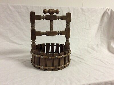 Vintage Wooden Wishing Well Nut Bowl Screw Nutcracker Barrel Style