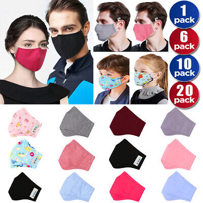 Adult Kids Face Filter Safety Anti-dust Haze Flu Mouth Protector Washable Lot