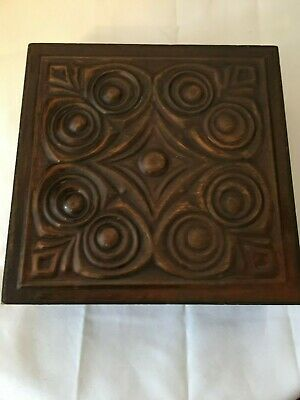 Vintage Arts  And Crafts Style Copper Lidded Wooden Box(Embossed)