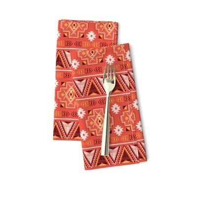Tribal Native Aztec Ethnic Indian Red Cotton Dinner Napkins by Roostery Set of 2