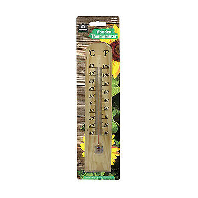 Wooden outdoor garden thermometer �C / �F display