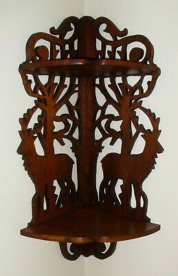 Antique Victorian Walnut Corner Wall Shelf Reticulated Carved Deer Hunter Cabin