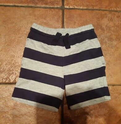 M&S marks And Spencer Boys Striped Grey Navy Cotton Shorts Size 3-4 Years