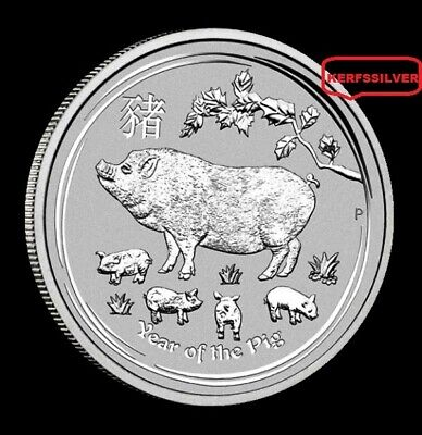 2019  Year Of The Pig 1 Oz. Perth Mint 9999  Fine Silver Coin - Ships In Capsule
