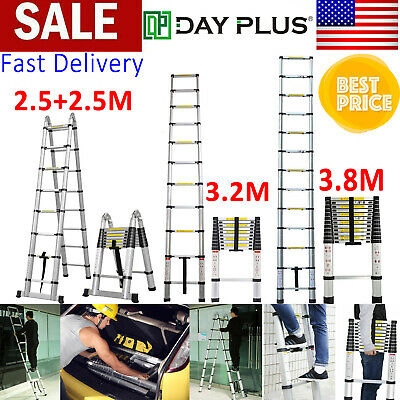 16.5FT Aluminum Telescoping Telescopic Extension Foldable Ladder Multi Purpose