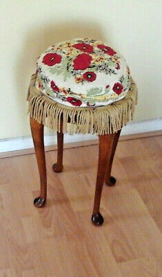 Vintage Stool Upholstered Tapestry Embroidered Seat Piano Table Teak Frills Chic