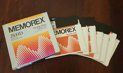 "6x Memorex 5 1/4"" 5.25"" Diskettes Floppy 2S/2D + Box + Stickers"