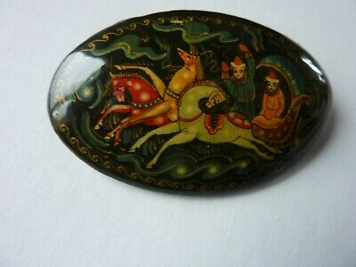 Black Vintage Hand Painted Lacquered Folk Art Russian Brooch Pin