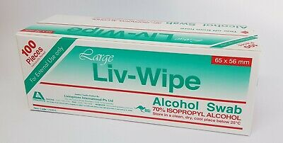 100x Skin Hand Cleansing Swab Liv-Wipe 70% Isopropyl Alcohol Pad 65x56mm
