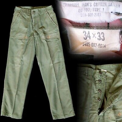 Vintage 1960s Vietnam War Cotton Sateen OG-107 Type 1 Class 1 Baker Pants 32x32