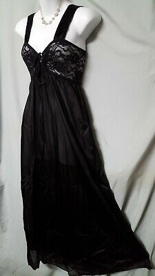 """Ventura BLACK NIGHTGOWN Long LENGTH  LACE Top SIZE SMALL 28"""" BUST"""
