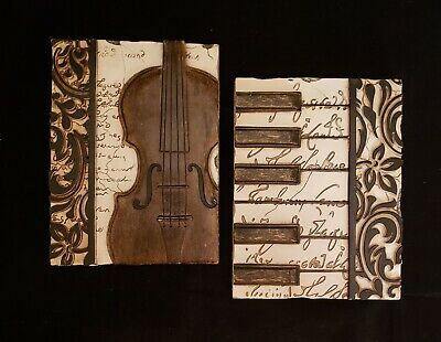 New View Gifts Music Wall Plaques Violin Piano 8x6 Plastic Resin