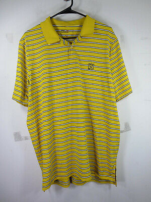 RLX Ralph Lauren mens yellow white black striped wicking golf polo XL EUC